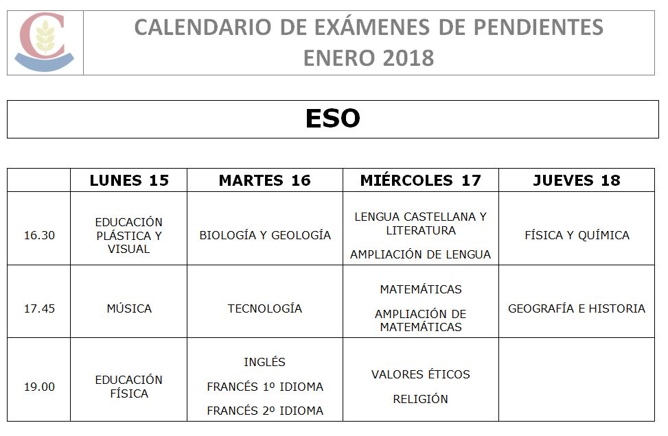 Calendario De Examenes.Calendario Examenes De Pendientes Calendario Sistema Educativo
