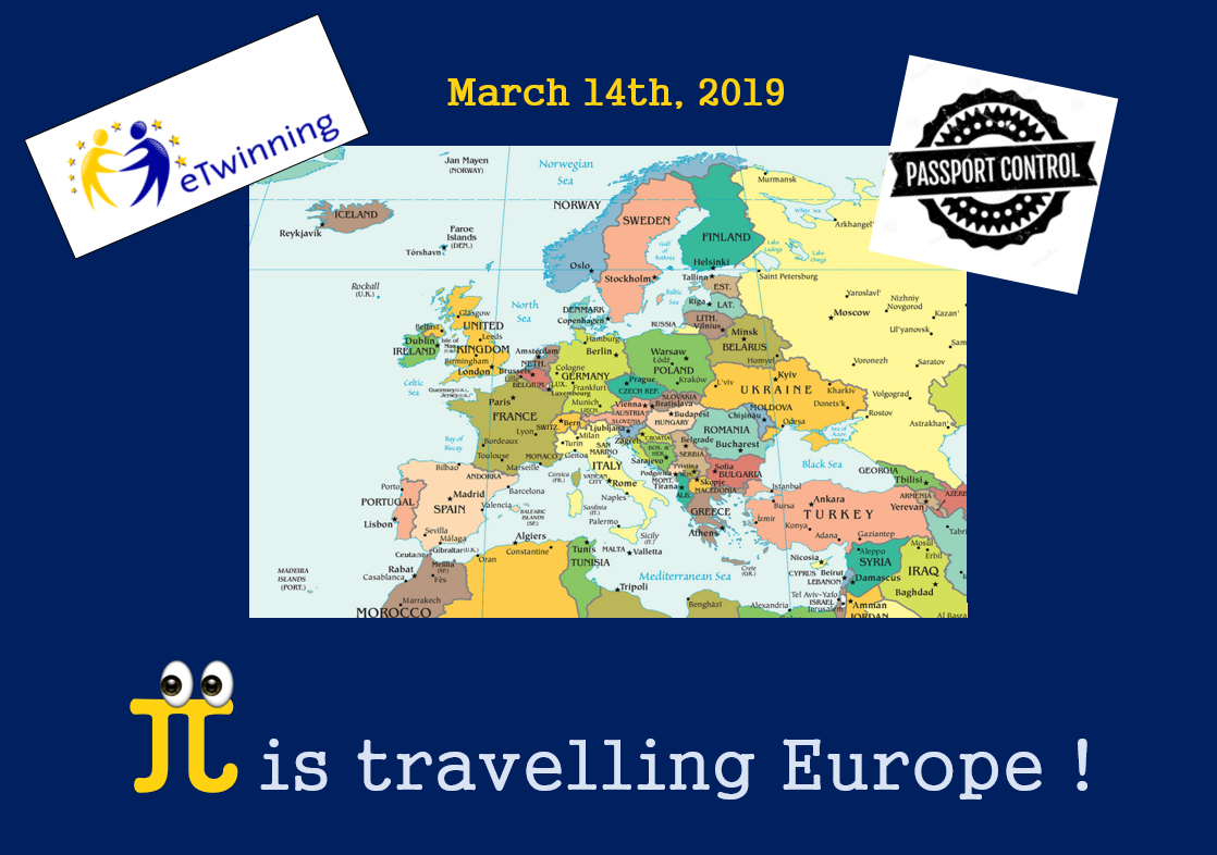 "Logotipo del proyecto eTwinning ""Pi is travelling Europe!"""